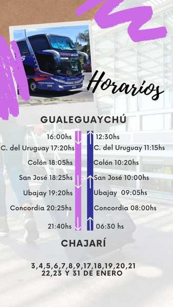 horarios jovi bus gualeguaychú chajarí