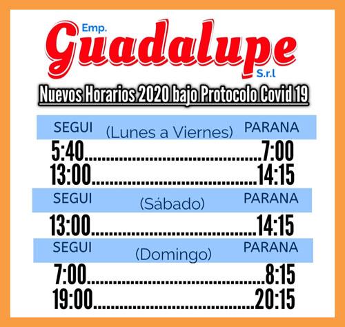 Horarios Empresa Guadalupe Paraná SeguÍ